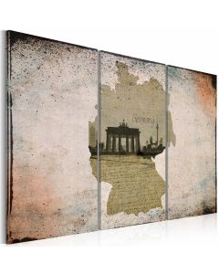 Obraz - map: Germany, Brandenburg Gate - triptych
