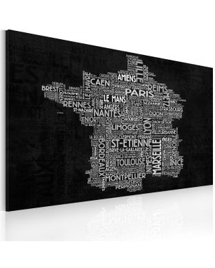 Obraz - Text map of France on the black background